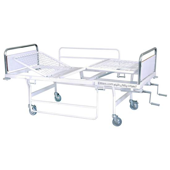 تخت بیمار سه شکن حفاظ دار بیمارستانی